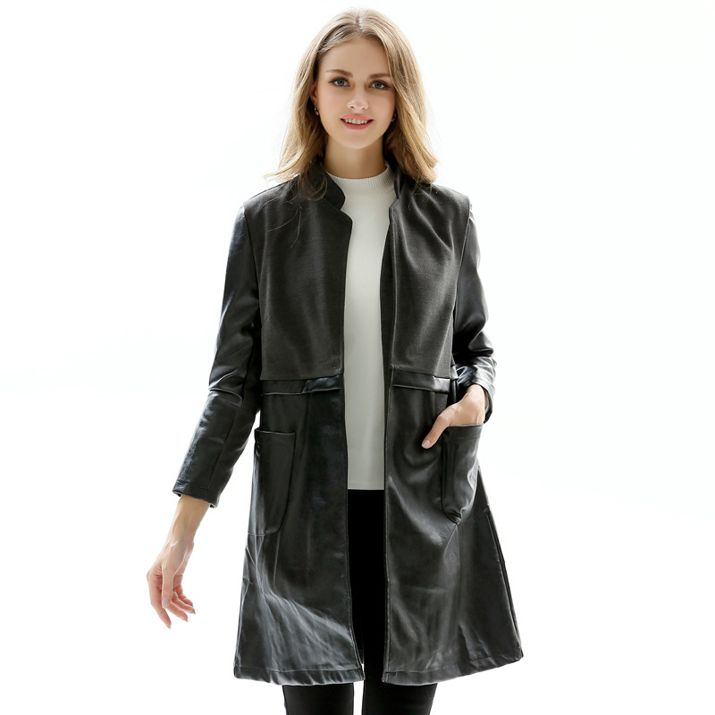 Plus size stand collar faux   leather   jackets women classic long style slim waist motorcycle   leather   coats 2019 new arrival