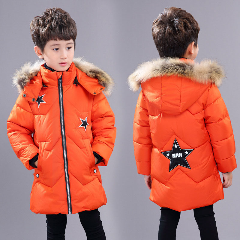 Childrens Winter Outerwear Big Boys Zipper Hooded Coats and Parkas Boys Winter Warm Clothes With Star Patten Kid Winter Jacket children winter coats jacket baby boys warm outerwear thickening outdoors kids snow proof coat parkas cotton padded clothes
