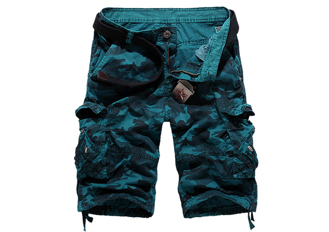 New Camouflage Loose Cargo Shorts Men Cool Summer Military Camo Short Pants 3