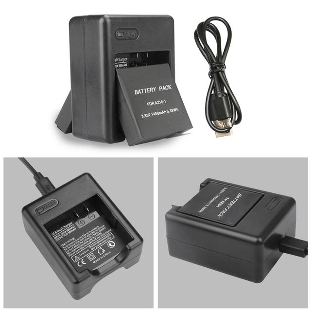 2 unids 1400ma yi 4 k con batería usb dual cargador para xiaomi yi 4 k accesorios
