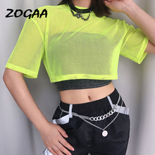 ZOGAA Sexy Mesh Fluorescent Green Women T-shirts Loose Fit Midriff-baring Summer New Brand Cloth Streetwear Top Tees Slim Casual sexy midriff baring tops