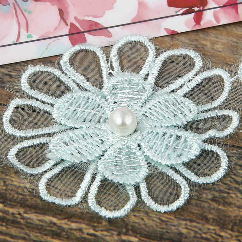 Width 5cm Embroidered Polyester Crocheted Lace Ribbon Floral Decoration For DIY Cloth Handmade Crafts Patchwork Accessories in Lace from Home Garden