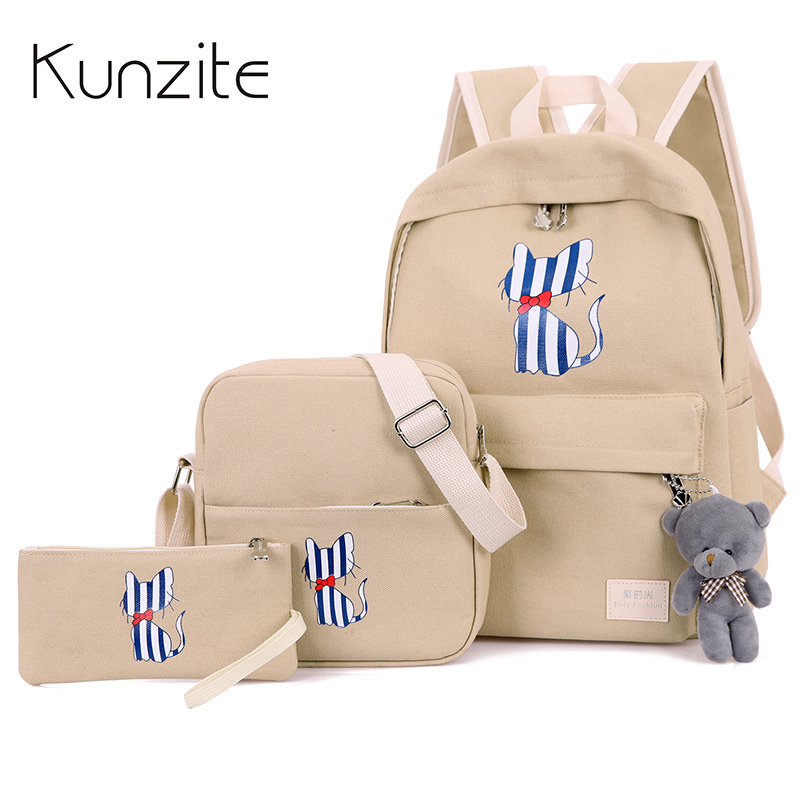 3 Pcs/Sets Fresh Cartoon Dog Printing Backpack Women Preppy Style School Bags For Girls Mochila Escolar Cute Backpacks Children