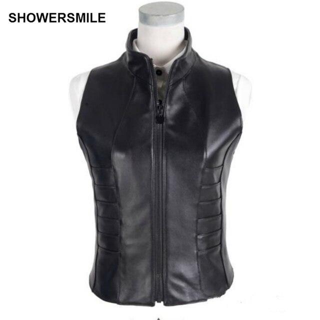 Showersmile Brand New Waistcoat Female Leather Vest Sleeveless Jacket Autumn Winter Real Leather Sheepskin Vest Stand Collar
