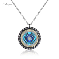 Cmajor Solid Silver Turkey Blue Series Jewelry Greece Evil Eye Pendant Clavicle Necklaces Sweater Chains For Women