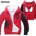 Baby Boys Spiderman Fleece Hoodies/Kids Winter Warm Cartoon Outerwear Clothing/Children Spider-man Thicken Sweatshirts Coat