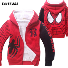Baby Boys Spiderman Fleece Hoodies/Kids Winter Warm Cartoon Outerwear Clothing/Children Spider-man Thicken Sweatshirts Coat