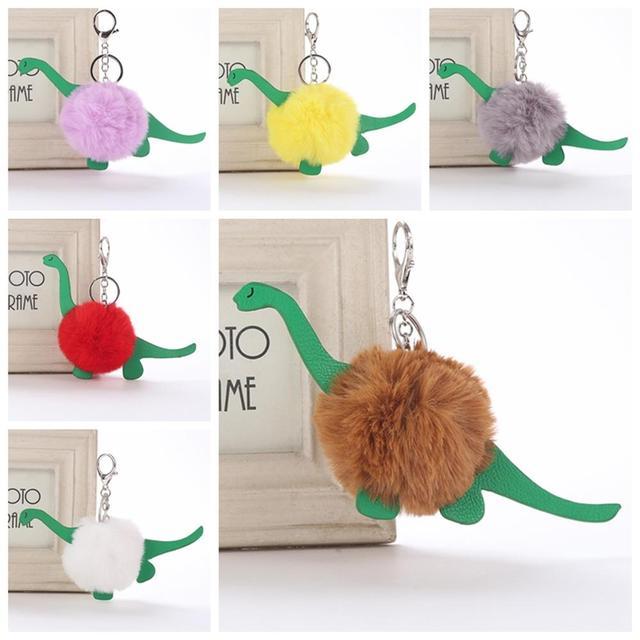Pompom Keychain Dinossauro Unisex Couro Artificial Falso Fofo Sopro Bola Dos Desenhos Animados Pingente PU Animal Chaveiro Moda Jóias
