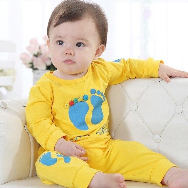 2ff02f443 Hooyi Yellow Cute Baby Boy Clothing Sets Children s T Shirts+Pant ...