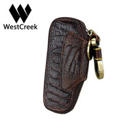Westcreek ماركة المصنع مباشرة مبيعات النفط الشمع جلد البقر والجلود الرجعية أصحاب مفتاح مفتاح السيارة محافظ الأزياء نمط تمساح