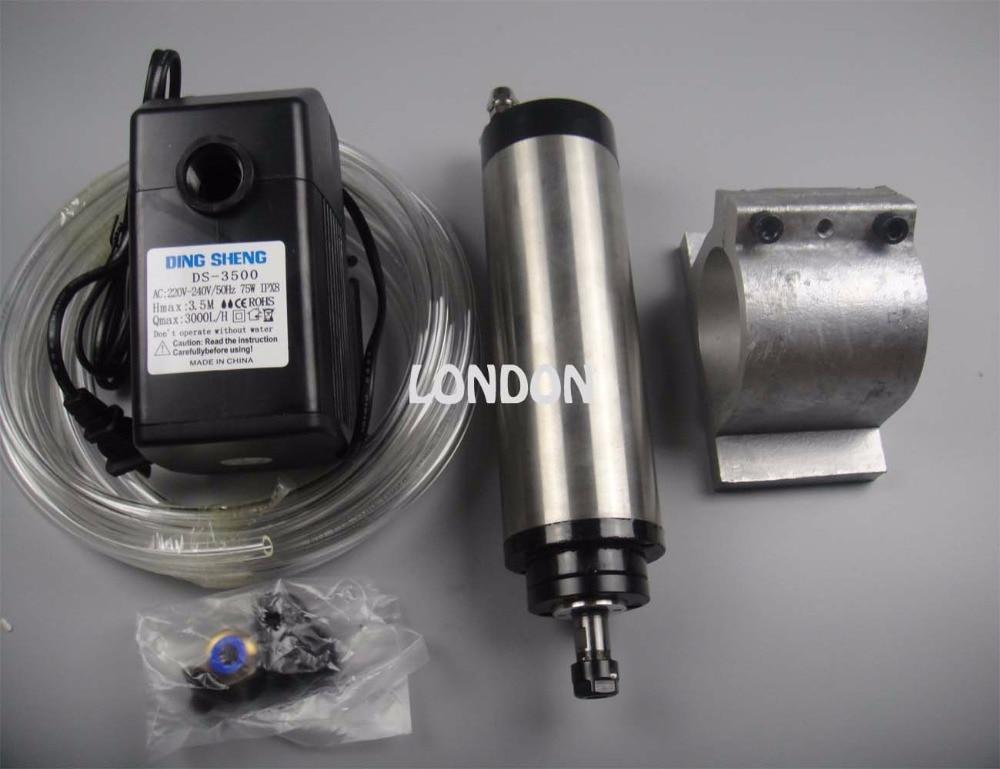 قطر ER11 80mm 220V 24000rpm 0.8KW اسپیندل خنک کننده آب + 1 پمپ آب + 1 لوله آب + پشتیبانی دوک نخ ریسی
