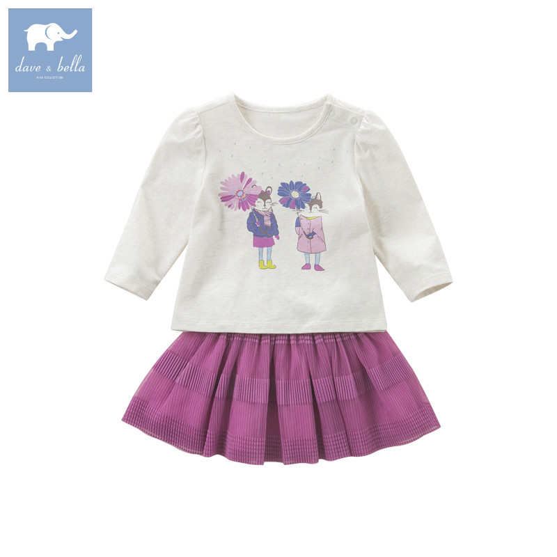 DB5845 dave bella autumn infant baby girls fashion skirt clothing sets printed suit children toddle outfits high quality clothes db2588 dave bella autumn unisex infant baby girls boys fashion t shirt kids cotton lovely tops children high quality tee