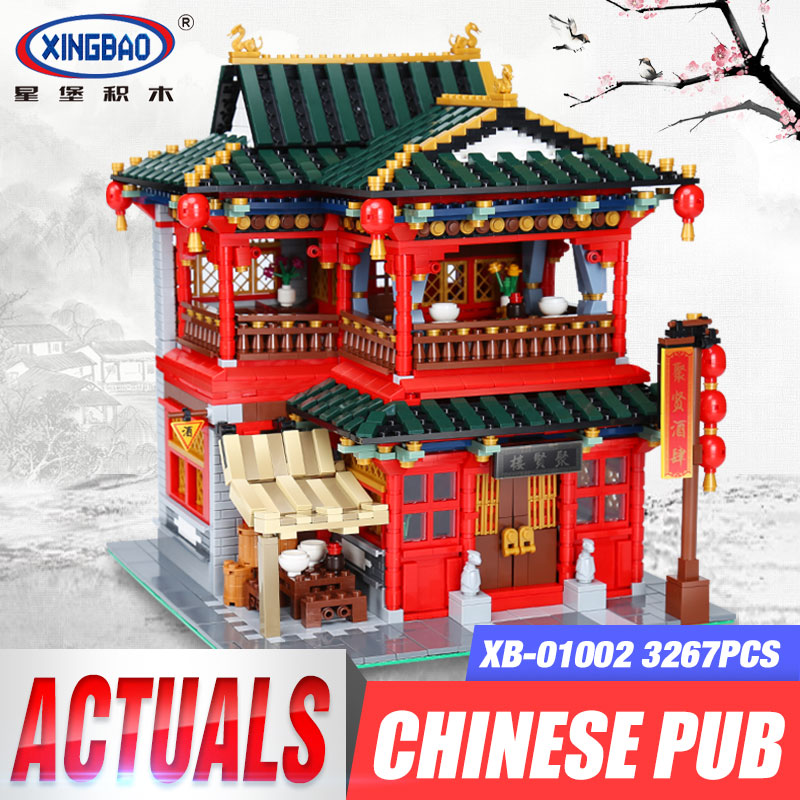 Xingbao 01002 3267Pcs MOC Creative Series The Beautiful Tavern Set Building Blocks Bricks Children Educational Toys Model Gifts in stock new xingbao 01101 the creative moc chinese architecture series children educational building blocks bricks toys model