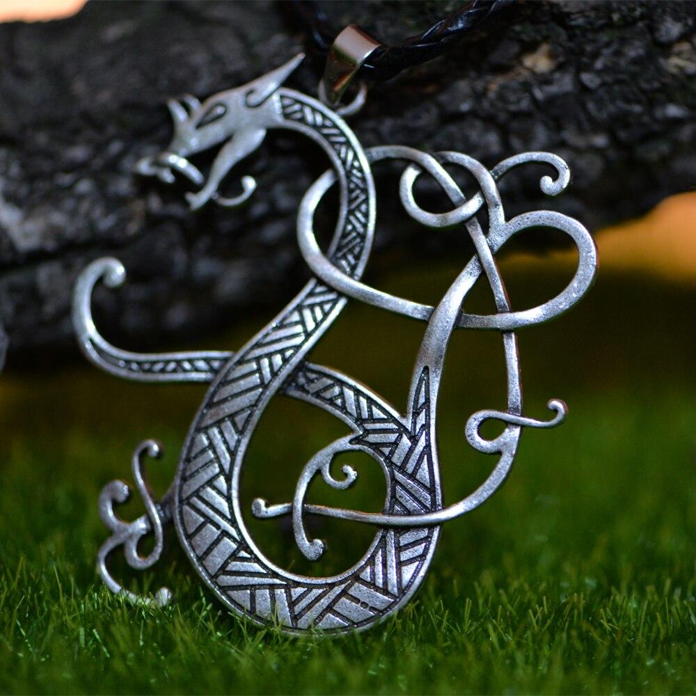 1pcs Langhong Nordic Vikings Necklace The Scandinavian Dragon Amulet pendant Necklace Norse Jewelry Talisman