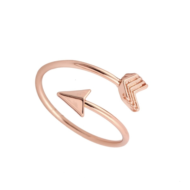 Gold Ring Vintage Jewelry Ring Adjustable Brass Small Arrow Rings for Women