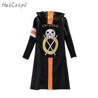 One Piece Cosplay Costume Trafalgar Law Cloak Men Adult Black Overcoat Japanese Anime long Sleeve With Hat Cool Style Cartoon