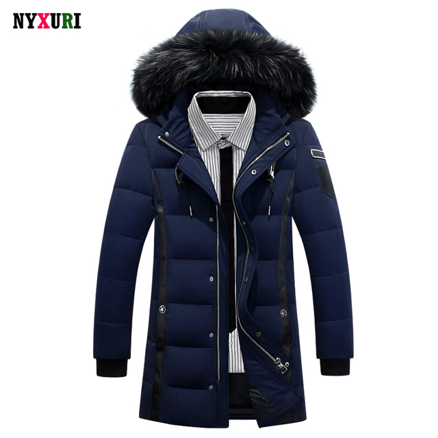 New 2016 Down Coat Luxury Men Casual Hooded Solid Color 90% White Duck Down Parkas Warm Long Male Winter Jacket Fur Plus Size