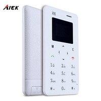 20 Adet/grup Ultra İnce AIEK/AEKU X6 Mini Cep Kart Telefon Öğrenci Rus Klavye ile Unlocked Mini Cep Telefonu Cebi PK M6 E1