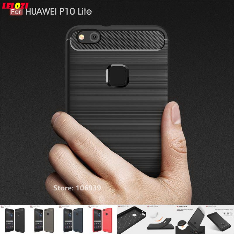 LELOZI Outdoor Soft TPU Silicone Rubber Armor Rugged Carbon Fiber Brushed Men Phone Coque Etui Case Cove For Huawei P10 Lite 5.2