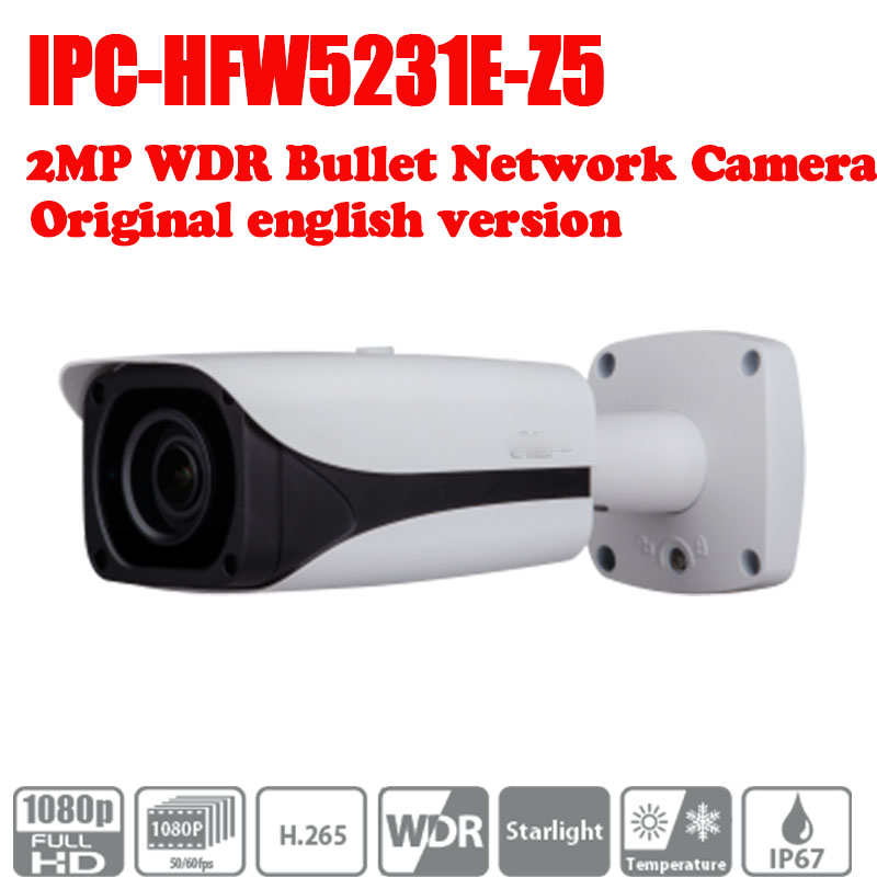 Free Shipping DAHUA 2MP WDR IR Bullet Network Camera IPC-HFW5231E-Z5 7mm ~35mm 5X zoom lens without logo free shipping dahua cctv camera 4k 8mp wdr ir mini bullet network camera ip67 with poe without logo ipc hfw4831e se