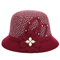 Winter Women'S Soft Wool Knitted Fedora Hat Floral Designed Plaid Cap Female Lady Vintage Wine Red Elegant Chapeau Hat