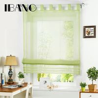 Tab Top Roman Curtain 1 PCS Lot Sheer Window Curtain For Kitchen Living Room Voile Screening