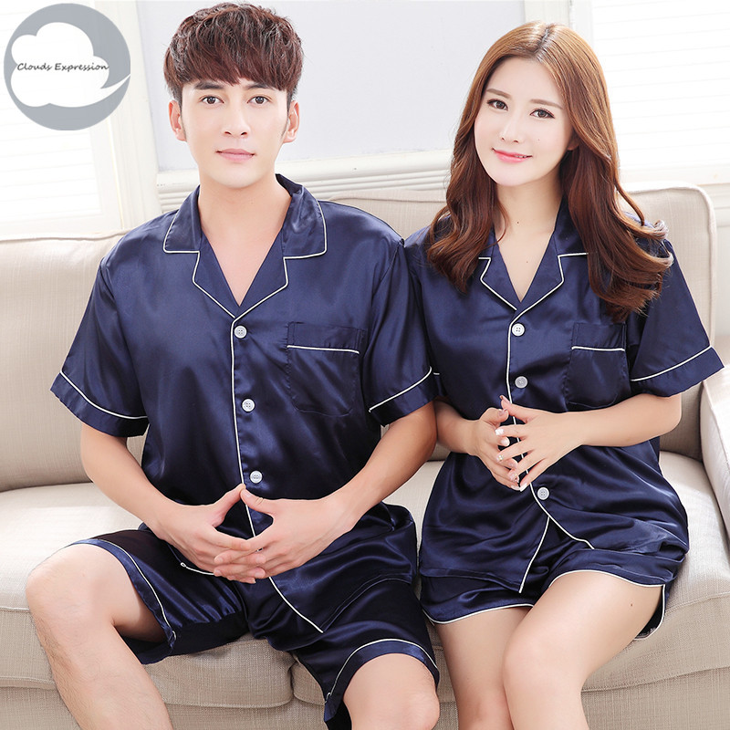 Men Pyjamas Sleepwear Short Satin Nightgown 3xl Summer Imitate-Silk Lover Polyester Solid-Sleeved