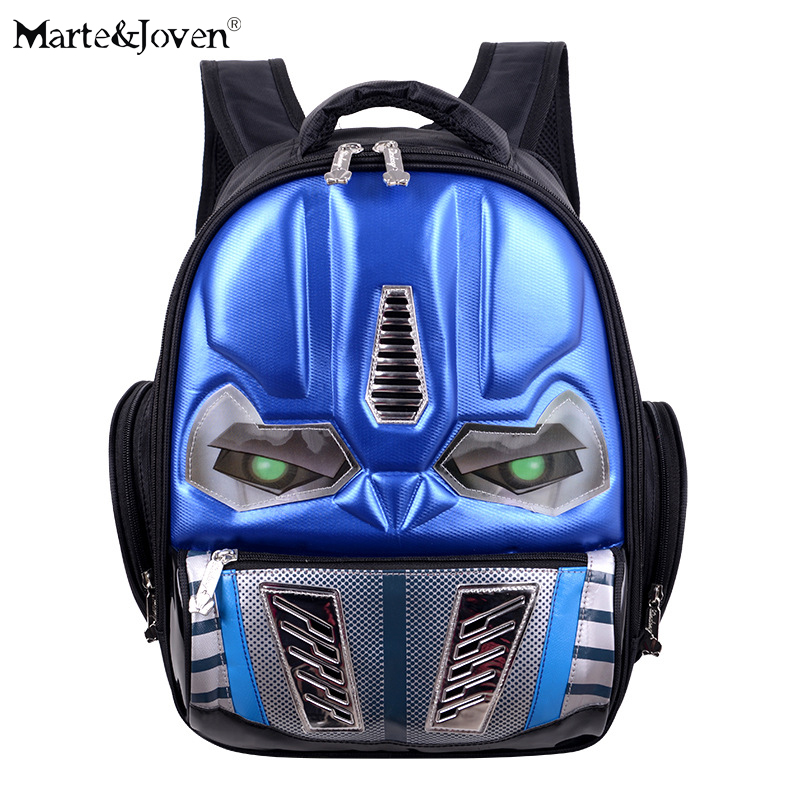 ФОТО LED Glow Eye Design 3D Cartoon Autobots School Bag for Children 4-10 Years Old Students Waterproof Anti-Dirty School Backpacks