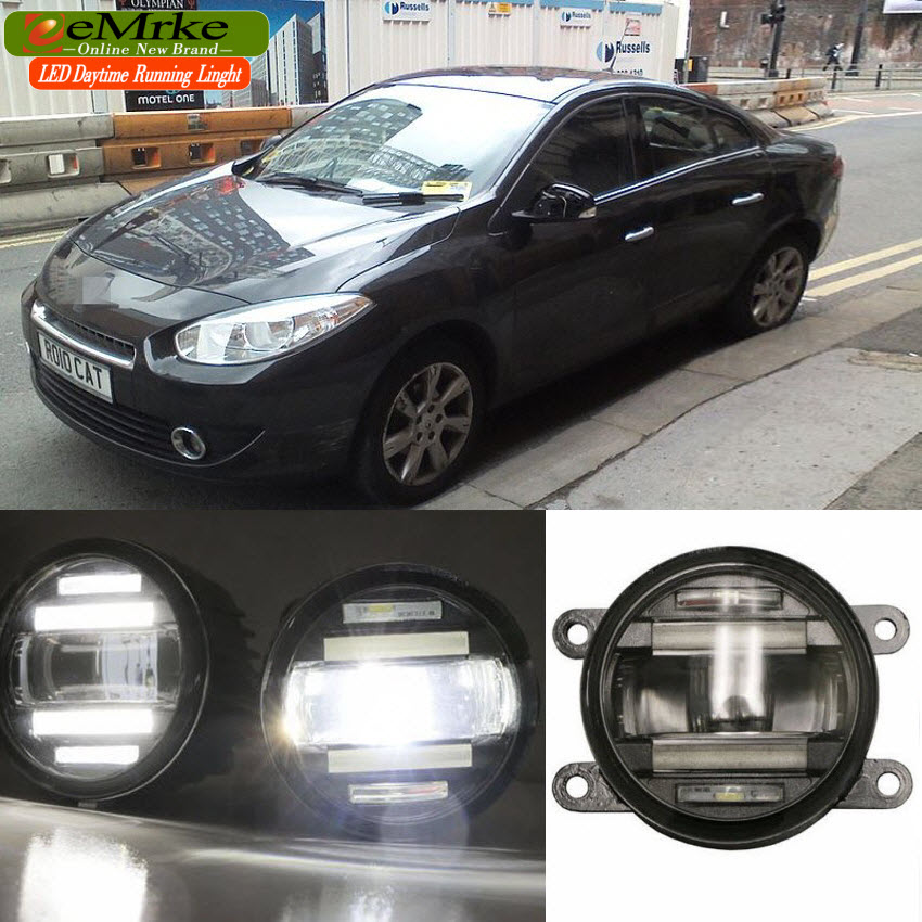 eeMrke Xenon White High Power 2 in 1 LED DRL Projector Fog Lamp With Lens Daytime Running Lights For Renault Fluence 2010-2015 eemrke car led drl for honda odyssey jdm 2014 2015 2016 high power xenon white fog cover daytime running lights kits
