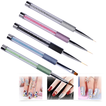 UV Gel Drawing Nail Art Brush Pen Charm Pearls Beads Handle Design Nails Liner Flat Sculpture Brushes Manicure Tools dual end line drawing nail art brush gold black handle uv gel brushes for diy nails 3d carving liner painting pen manicure tools
