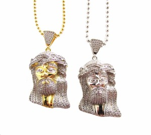 Image 2 - Mens Golden Iced Out Jesus Piece necklaces Charm Chain bling pendants Jewelry Rappers Collier Big Jesus Necklace with cz jewelry