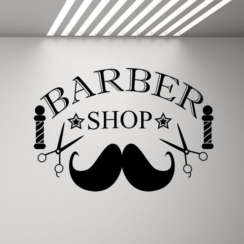 Us 4 82 30 Off Barber Shop Sign Wall Decal Hairdresser Salon Wall Window Decor Stickers Posters Mustache Scissors Removable Wallpaper Mural G99 In