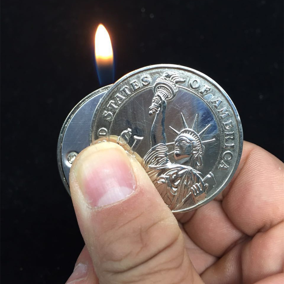 Creative Compact Butane Lighter Gas Lighter Inflated Gas Jet Pendant Coin Bar One Dollar Metal Gift Keychain Key Chain-in Matches from Home & Garden