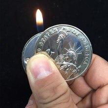 Criativo compacto butano isqueiro gás mais leve inflado jato de gás pingente moeda barra um dólar metal presente chaveiro chaveiro