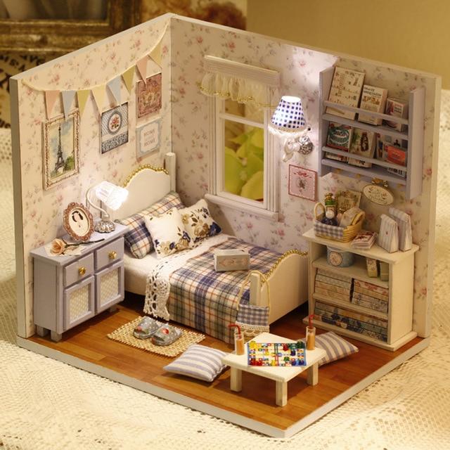DIY Handmake Wooden Dollhouse Miniature Kit Happy Living Room With ...