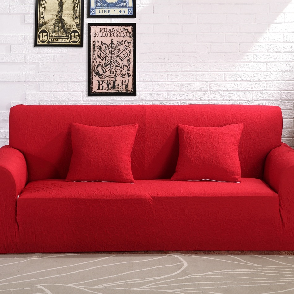 Red Jacquard Stretch Furniture Covers For Living Room,100