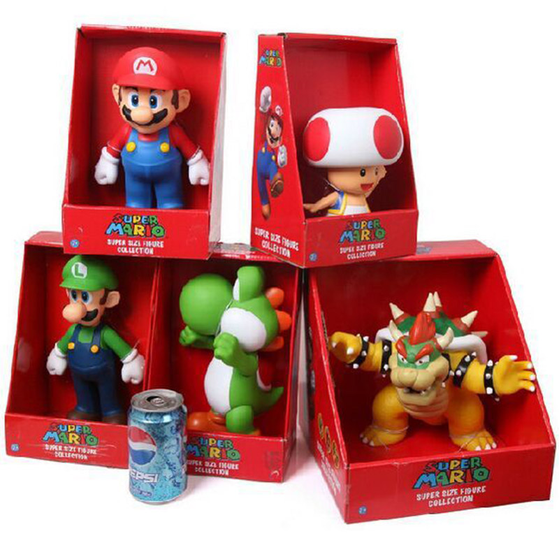 Retail 5 Styles 9'' 23cm Super Mario Bros Mario Yoshi Luigi Koopa Bowser Toad PVC Action Figures Toys With Box Free Shipping