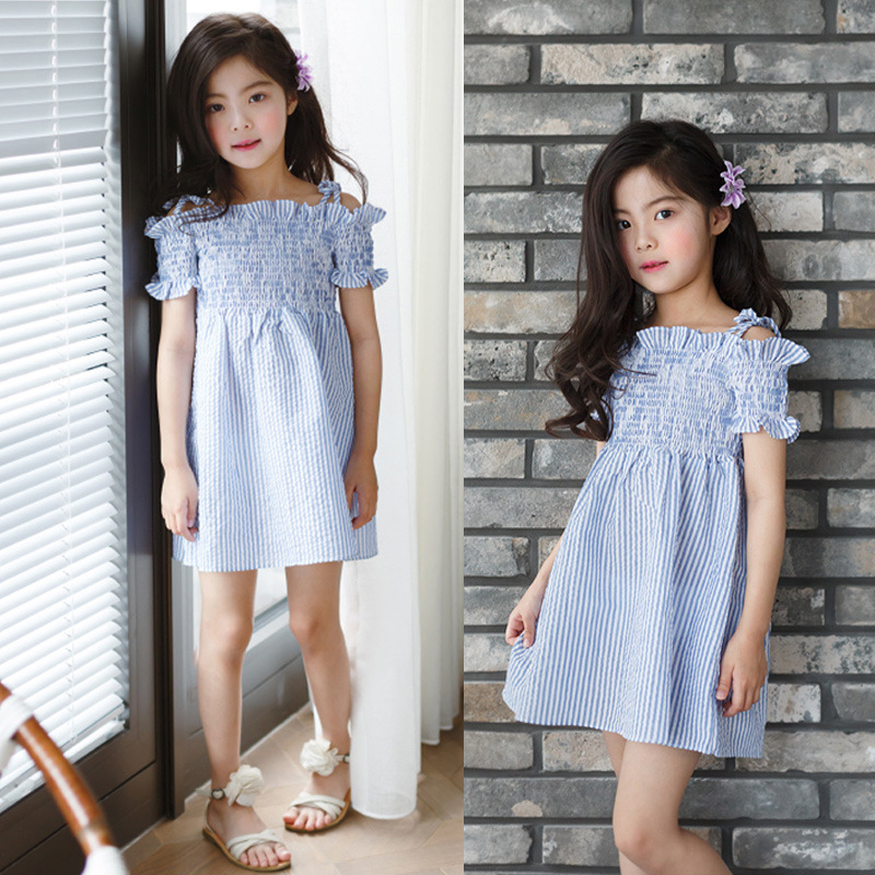 Cotton Princess Dress Girl 2018 Brand Summer Off Shoulder Teenage Girls Party Dress Kids Children Blue Striped Dresses Clothes 2pcs children outfit clothes kids baby girl off shoulder cotton ruffled sleeve tops striped t shirt blue denim jeans sunsuit set