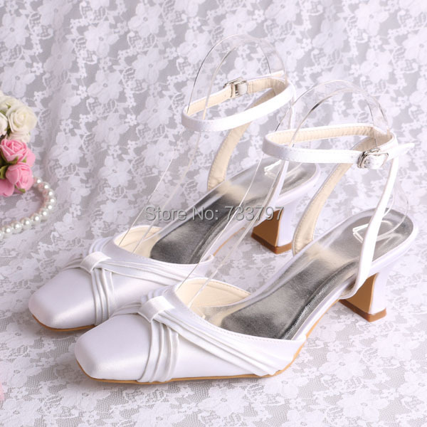 Wedopus New Fashion White Square Toe Satin Pumps for Bride Wedding Bridal Evening Party Shoes