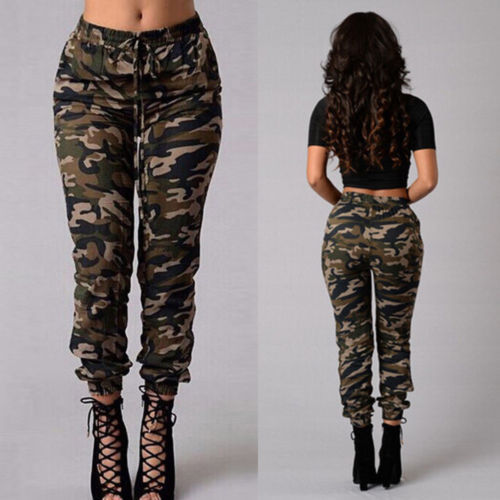 Women Camouflage Pants Camo Casual  Military Army Harem Trousers Cotton Regular Flat High Pant Hot Clothing