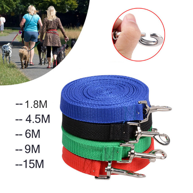 1.8m - 15m Cat Dog Nylon Arnés de entrenamiento Leash Pet Puppy Dog Collar de plomo ajustable largo para caminar diario Correr al por mayor