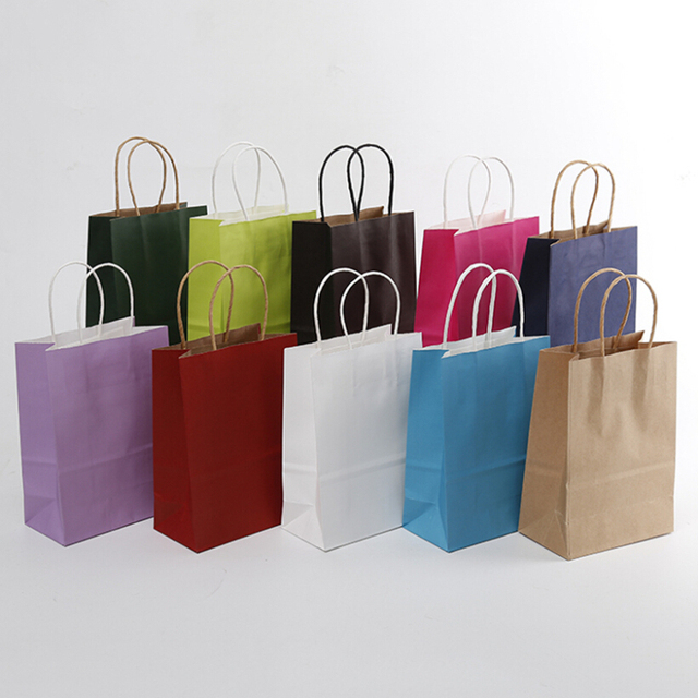 Gift Bags 21x15x8cm Elegant Color Paper Bag Small Size Kraft With