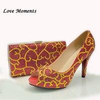 Love Moments открытый носок, красные, золотые, с украшением в виде кристаллов Свадебная обувь с Сумочки в комплекте свадебное вечернее платье ком