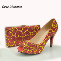 Love Moments Peep Toe Red Gold Crystal Wedding shoe with matching bags Bride Party Dress shoes and bags Fish Toe Ladies shoe