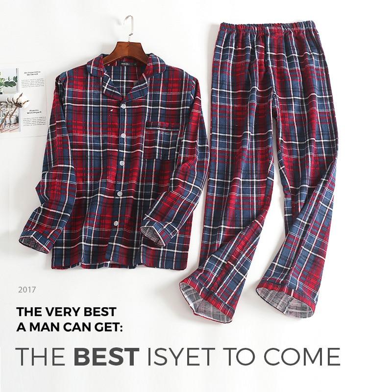 Image 3 - Новинка, 100% хлопок, мужской осенне зимний Пижамный костюм с длинными рукавами и брюками, красная фланелевая одежда для сна в клетку, бархатный мягкий комплект одежды-in Пижамные комплекты для мужчин from Нижнее белье и пижамы on AliExpress - 11.11_Double 11_Singles' Day