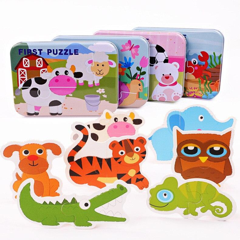 Vehicle/Fruit/Animal Set Pair Puzzle Educational Gift Baby Toys Iron Box Infant Early Head Start Training Puzzle Cognitive Card