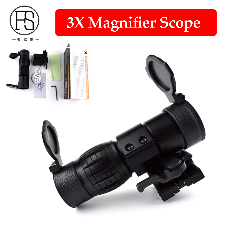 Airsoft Rifle Gun Tactical 3X Magnifier Sight Scope With Switch To Side STS Quick Detachable Mount For 20mm Rail