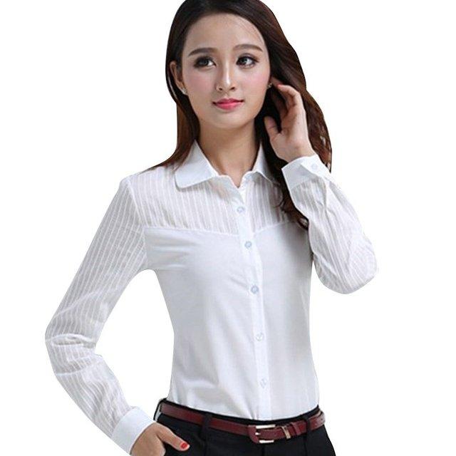 Леди БЕЛЫЕ РУБАШКИ Формальная работа блузка Размеры S-2XL корейские женские рубашки с принтом Шифоновая блузка Slim Fit Леди рубашки