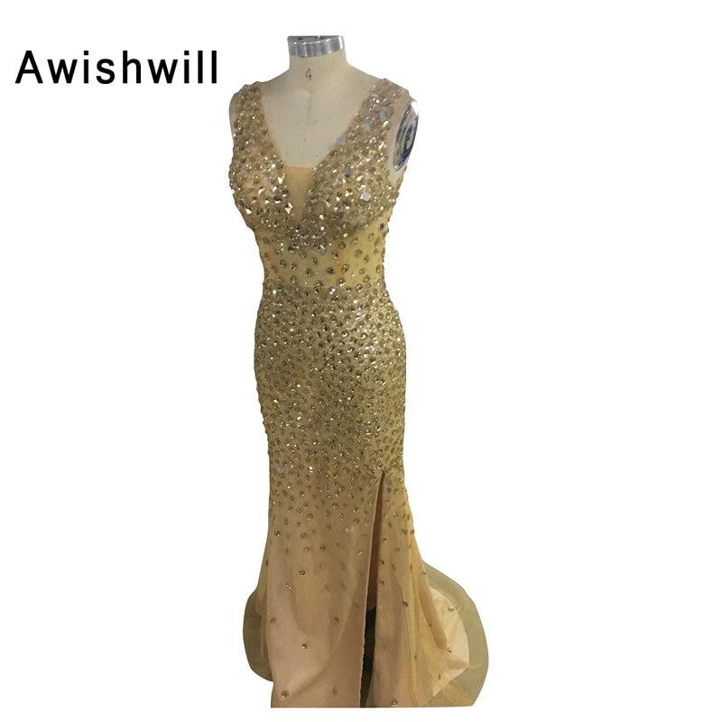 2019 Sexy V-Ausschnitt Bodenlangen Kristall Perlen Frontschlitz Goldene Prom Kleider Lange Festzug Party Kleider Vestidos De Gala