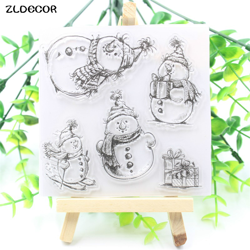 ZLDECOR Snowman Transparent Clear Silicone Stamps for DIY Scrapbooking/Card Making/Kids Fun Decoration Supplies kscraft butterfly and insects transparent clear silicone stamps for diy scrapbooking card making kids fun decoration supplies